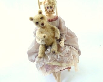 Goldi art doll cloth poseable  needle felt bear wood chair fairy tale soft sculpture
