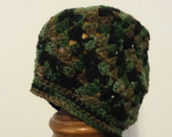 Child's camoflage crochet beanie
