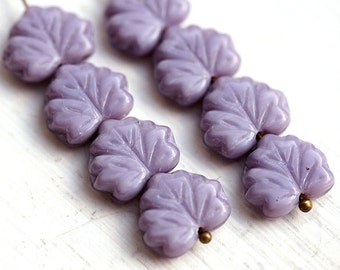 Czech leaves, glass beads - Purple Violet Lilac - Maple leaf - 11x13mm - 10Pc - 1038