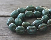 Green Gemstone Necklace: Forest Green Chunky Statement Jewelry with Adjustable Clasp, Rustic
