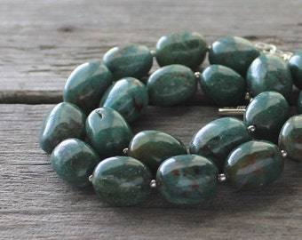 SALE Green Gemstone Necklace: Forest Green Chunky Statement Jewelry with Adjustable Clasp, Rustic