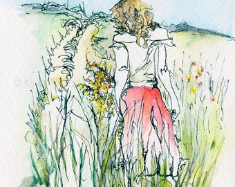 ACEO PRINT, Fine Art Print, Spring, Figure in Fields, Figurative, Pen and Wash, Kylie Fogarty, Art, Collectable Art