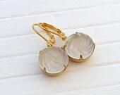 White Glass Earrings ...   white matte earrings, frosted glass, bridal earrings, vintage glass earrings