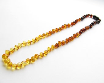 Baltic Amber Necklace Rainbow Color Rounded Beads. For Adults