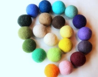 Wool dryer balls set of 6, assorted colors. Handmade of 100% wool. Replaces fabric softener and dryer sheets for natural laundry care.
