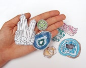 Precious Gems Magnets - Illustrated Crystals and Geodes for your Fridge including Quartz, Amethyst and Pyrite!