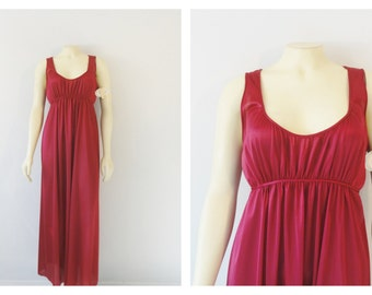 Vintage Nightgown Burgundy Wine Kayser Athenian Full Length Gown Back Tie Scoop Neck Nylon Satiny Feel Deadstock NWT Size Medium to Large