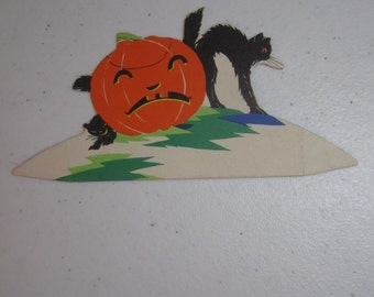 Colorful 1920's-30's unused die cut buzza halloween place card jack o' lantern and 2 black cats