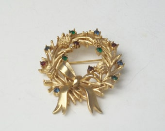 Vintage Signed Trifari Pine cone & Rhinestone 1960's Costume Jewelry Christmas Wreath Xmas Mid Century Brooch Pin Gift For Her on Etsy