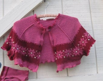 Pink cropped cardigan, XS-S, cropped style cardigan, pink red, pink coverlet, XS-S, Upcycled