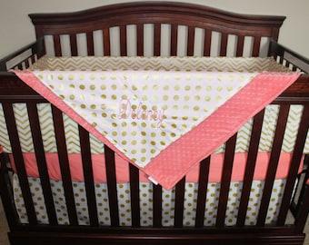 Baby Girl Crib Bedding - Glitz White Gold Chevron, White Gold Dot, and Coral Bedding Ensemble with Patchwork or Blanket