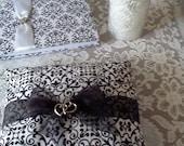 Black & white wedding ring pillow Donna Su Domichcreations etsy
