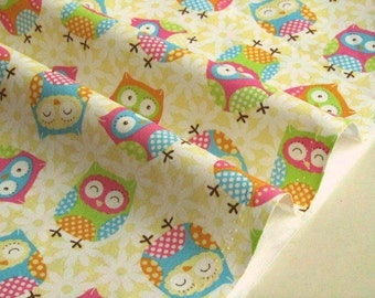 2102 - cotton fabric- Owls - by the yard (width=110cm)