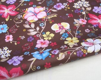 "3081B  - 1 yard Vinyl Waterproof Fabric - Butterfly flower (brown background)  - 57""x36"""