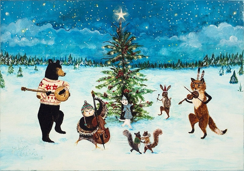Print Christmas Art Holiday Woodland