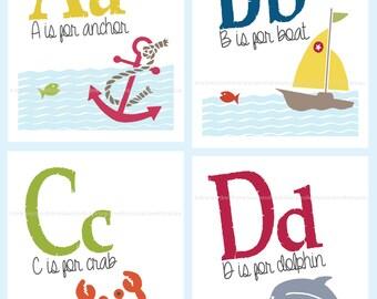 My Nautical ABCs - 8 x 10 Alphabet  Art Prints - Sets or Single Prints - Classroom, Nursery, Playroom - Gifts Under 20