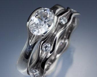 Unique White Sapphire Engagement Ring Bridal Set Wave Wedding Band Palladium , White Gold, Yellow or Rose gold  ethical engagement ring,