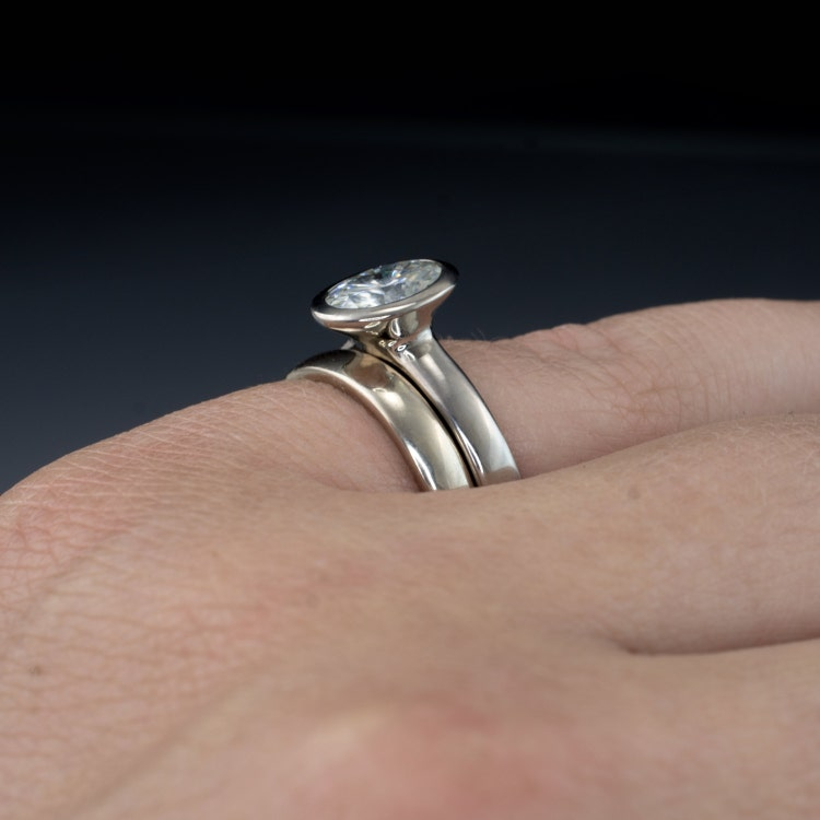 Bridal Ring Set Oval Moissanite Bezel Ring By Nodeformweddings