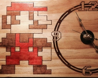 Woodburning - NES Mario Desktop Clock