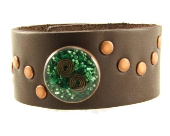 Orgone Energy Bracelet - Chocolate Brown Leather Cuff Bracelet - Malachite Gemstone - Unisex Bracelet - Artisan Jewelry