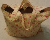Cotton reusable grocery bag, vintage yellow floral, short fabric handles, washable grocery bag, cotton grocery bag