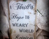 Rustic Wood Christmas Plaque-Thrill of Hope