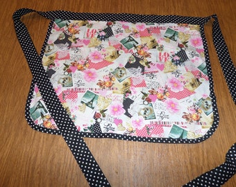 Black and Pink Love Inspired Fabric Half Apron