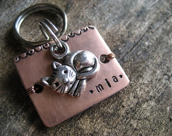 Copper Pet Id Tag - Cat Id Tag - Cat Tag - Unique Pet Id Tag - Copper Tag - Aluminum Backer
