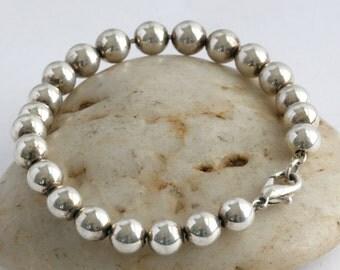 Sterling Silver Plate Ball Bead Bracelet // Vintage Jewelry