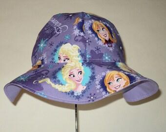 Girls Sun Hat, Frozen Hat, Cotton Summer Hat, Toddler Sun Hat, Anna And Elsa Hat,  Floppy Beach Hat, Girls Birthday Gift Made To Order
