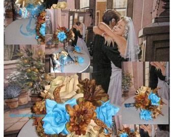 New True Timber MC Cobalt Wedding Bouquets, Blue Camouflage Wedding Flowers