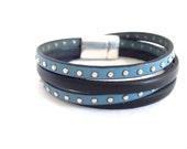 Leather Wrap Bracelet  Black and Blue Leather Bangle Womens Leather Bracelet  Leather Jewelry Boho Wrap Bracelet
