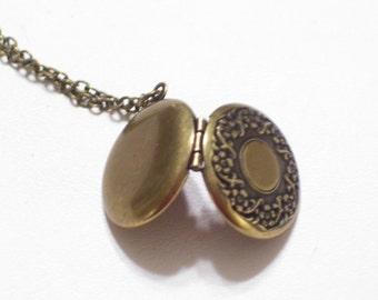 Floral Brass Locket, Art Nouveau Style Ornate Round Locket, Brass Flower Locket Pendant Necklace