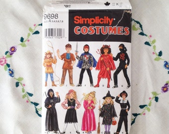 Out of print sewing pattern, Halloween costume pattern for children, mix and match costumes, Simplicity pattern 9698