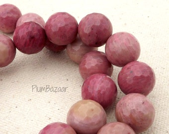 Rhodonite, 15mm faceted round beads, 15 inch strand