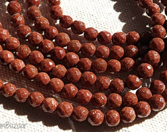 Goldstone beads, faceted 6mm round, TWO 16 inch strands