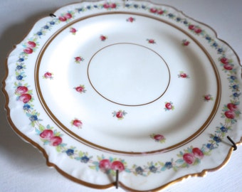 "8"" English Plate Cauldon Bone China Pink and Blue Flowers with Gold Trim - Floyd Jones Vintage"