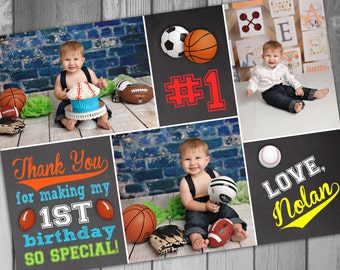 Birthday Thank You Card Sports Thank You Baseball Thank You Football Thank You Basketball Thank You 1st Birthday Boy 1st Photo Thank You