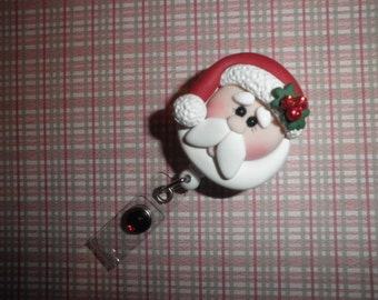 Polymer Clay Santa Claus Badge - Professional Retractable ID Badge Reel With Cute Santa Claus