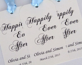Personalized Wedding Favor Gift Tags, Set of 6, Happily Ever After, Party Favors, Special Day Luxury Tags, Choose Ribbon Colours and Fonts