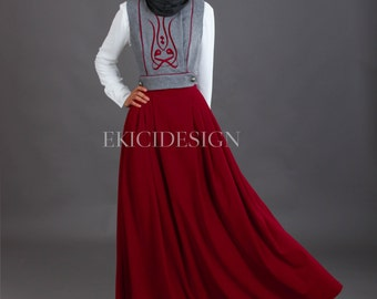 Authentic costume with artful calligraphy embroidery on jilet