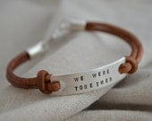 Sterling Double Sided Bracelet - Two Lines - Customize - Personalize - Leather and Silver