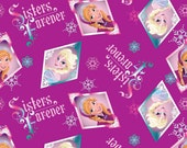 Disney's Frozen Sisters Forever Badge Fabric by the Yard