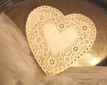 Heart lace Paper Doilies, white doilies, tea party decor, lace paper doilies, wedding hearts