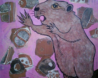 "Beaver, original 24"" x 24"" painting on 1 1\2"" deep braced wood panel, acrylic and collage"