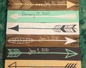 Reclaimed wood arrow with date