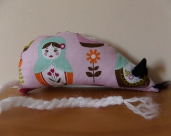 Catnip Mouse -  Pink Russian Dolls Matryoshka design - Made with Extra Strong Catnip
