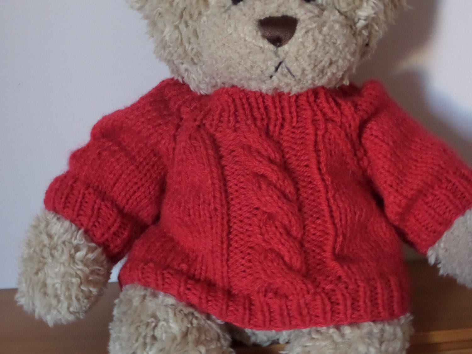 Teddy Bear Sweater Hand knitted Red Cable/Aran by KraftyKatsUK