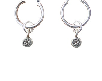 Sterling Silver Hill Tribe Flower Stamped Earrings