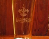 Custom Etched Pint Glass- New Orleans Saints